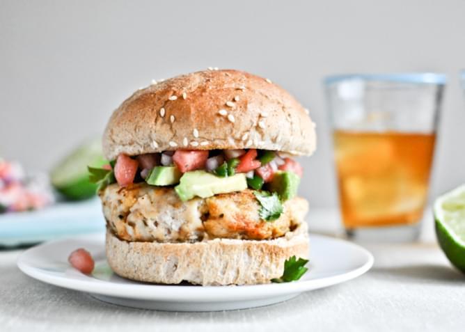 Tilapia Burgers with Watermelon Salsa + Avocado