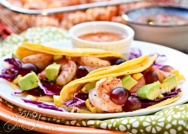 Shrimp Taco Recipe with Ranchero Sauce, Grilled Corn and Grapes
