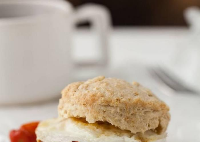 Egg, Roasted Tomato, and Pesto Biscuit Sandwich