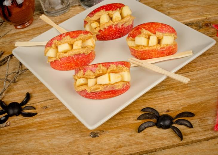 Spooky Peanut Butter & Apple Dentures