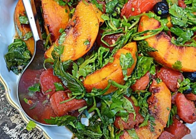 ~cast Iron Skillet Grilled Fruit Salad~
