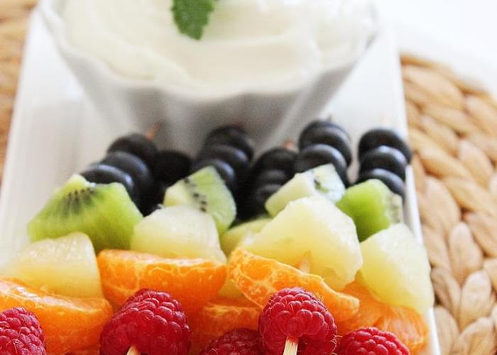 Rainbow Fruit Skewers with Vanilla-Honey Yogurt Dip