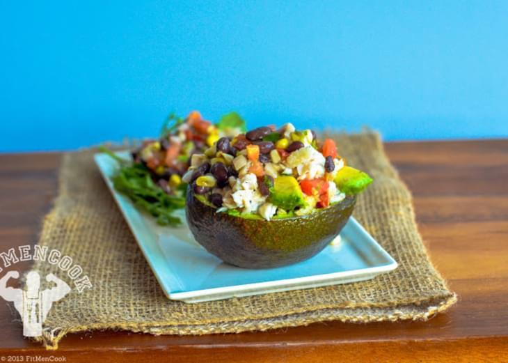 Tilapia Stuffed Avocado with Black Beans & Corn