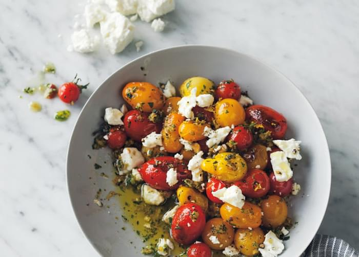 Seared Tomatoes with Arugula Pesto and Feta
