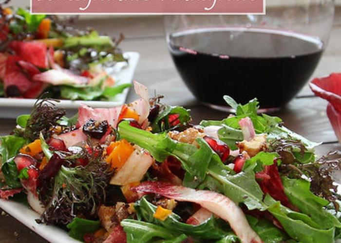 Jeweled Holiday Salad with California Endive, Roasted Beets and Butternut, and Pomegranate Vinaigrette