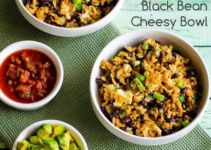 Slow Cooker Spicy Brown Rice and Black Bean Cheesy Bowl