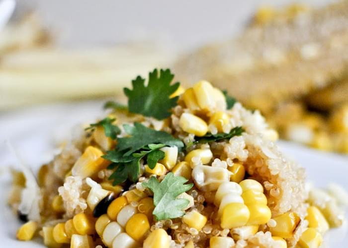 Grilled Corn + Cheddar Quinoa